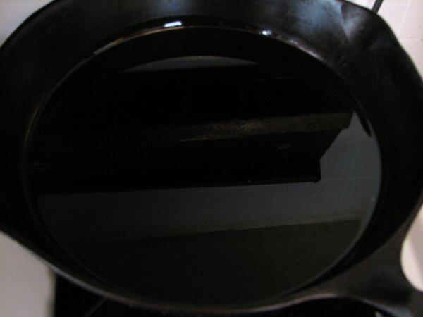 Hot Oil in Cast Iron Skillet